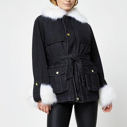 RIVER ISLAND Black faux fur collar and cuff denim jacket / casual fur trimmed jackets - flipped
