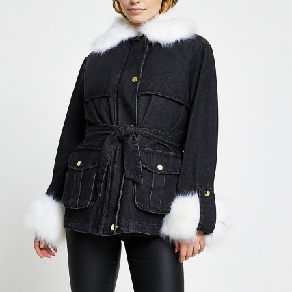RIVER ISLAND Black faux fur collar and cuff denim jacket / casual fur trimmed jackets
