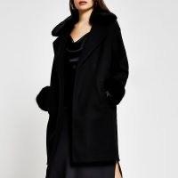 RIVER ISLAND Black faux fur collar coat / trimmed winter coats