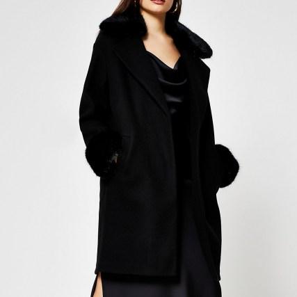 RIVER ISLAND Black faux fur collar coat / trimmed winter coats - flipped