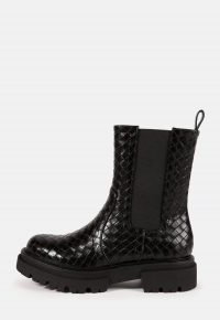 MISSGUIDED black faux leather woven ankle boots