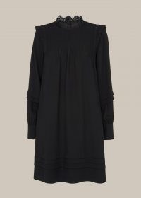 WHISTLES LACE TRIM PINTUCK DRESS / frill trim dresses / romantic style clothing