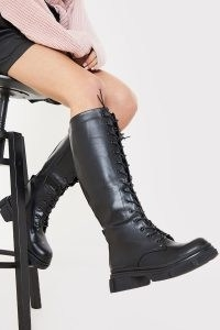 IN THE STYLE BLACK LACE UP KNEE HIGH BIKER BOOTS