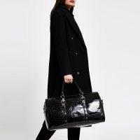 River Island Black Leather embossed barrel bag | croc effect bags