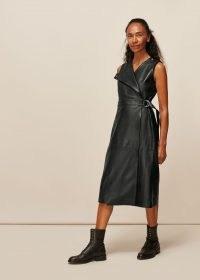 WHISTLES LEATHER SHIFT DRESS / wrap dresses
