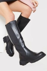 IN THE STYLE BLACK PU CHUNKY SOLE KNEE HIGH BOOTS ~ faux leather footwear