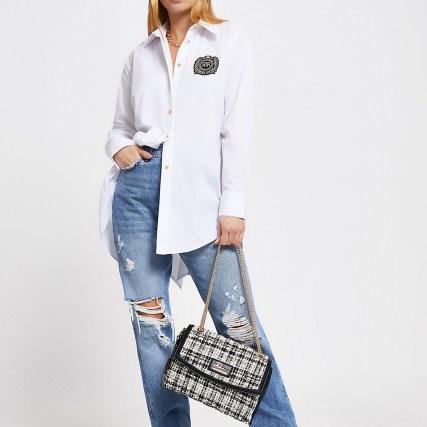 RIVER ISLAND Black quilted shoulder bag ~ affordable chain strap flap bags