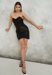 MISSGUIDED black sequin wrap over mini dress ~ strapless lbd ~ party glamour ~ glittering evening dresses