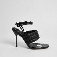 RIVER ISLAND Black wide fit quilted tie up sandal / ankle wrap quilt detail sandals