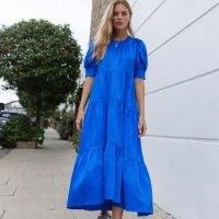 Palones Blue Satin Jacquard Tiered Puff Sleeve Midi Dress