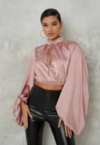MISSGUIDED blush satin wrap extreme sleeve blouse ~ pink cropped blouses ~ balloon / blouson sleeve tops