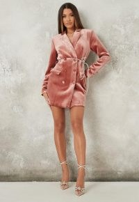 MISSGUIDED blush velvet diamante belt blazer dress