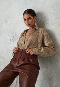 MISSGUIDED bronze crinkle extreme oversized satin shirt