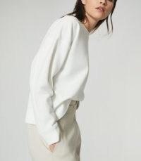 REISS BROOKE RELAXED LOUNGEWEAR SWEATSHIRT WHITE / crew neck lounge wear sweat top