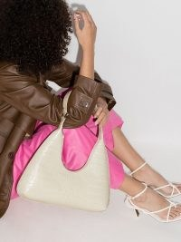 BY FAR Amber crocodile-effect shoulder bag | luxe croc embossed bags | handbags
