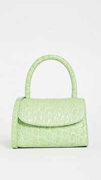 BY FAR Mini Bag in Pistachio ~ small green crocodile effect handbag