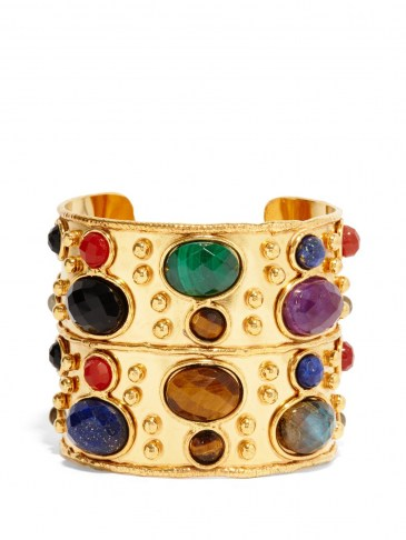 SYLVIA TOLEDANO Byzance malachite, onyx & lapis lazuli cuff ~ multicoloured semi-precious gemstones ~ multi coloured stone cuffs - flipped