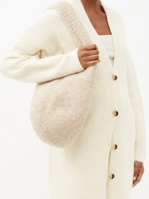 LAUREN MANOOGIAN Calabaza felted alpaca and wool-crochet tote ~ cute knitted shoulder bags ~ luxe knitwear accessory