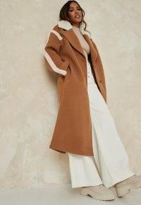 MISSGUIDED camel borg teddy contrast formal coat ~ brown longline coats ~ faux fur trim