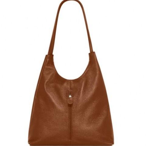 VodkaBlue Camel Soft Leather Slouch Bag ~ slouchy brown handbag - flipped