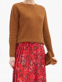 ERDEM Carmine camel cable-knit cashmere sweater ~ brown crew neck jumpers