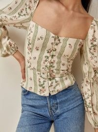Reformation Cera Top | fitted bodice floral tops