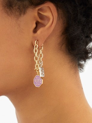 GIVENCHY Charm chainlink drop earrings ~ mismatched statement drops - flipped