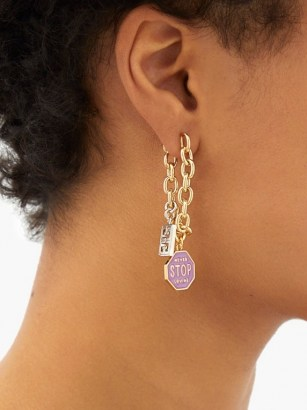 GIVENCHY Charm chainlink drop earrings ~ mismatched statement drops