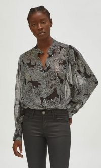EQUIPMENT CHAYCE SILK TOP – printed monochrome blouses