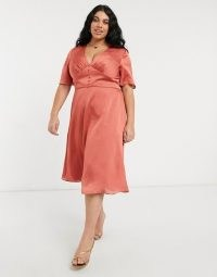 Chi Chi London Plus button down flutter sleeve midi skater dress in rust | plunging plus size satin style dresses