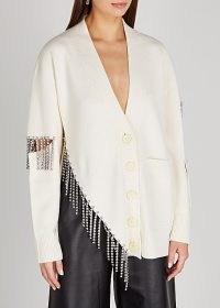 CHRISTOPHER KANE Cream crystal-embellished wool cardigan ~ luxe cardigans ~ designer knitwear