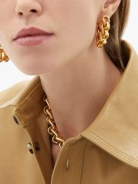 BOTTEGA VENETA Chunky chain gold-plated sterling-silver earrings ~ statement jewellery