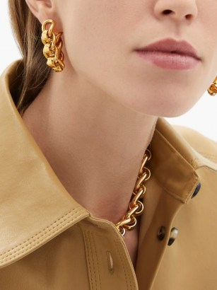 BOTTEGA VENETA Chunky chain gold-plated sterling-silver earrings ~ statement jewellery - flipped