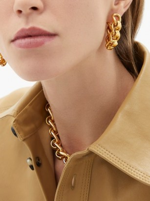 BOTTEGA VENETA Chunky chain gold-plated sterling-silver earrings ~ statement jewellery