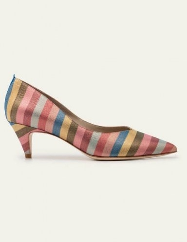 Boden Clara Heels Multi Stripe | multicoloured glitter courts - flipped