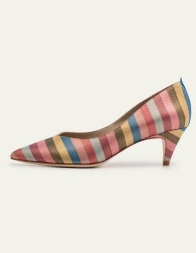 Boden Clara Heels Multi Stripe | multicoloured glitter courts