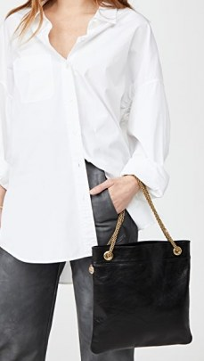 Clare V. Delphine Bag   black crinkled leather chain strap bags - flipped