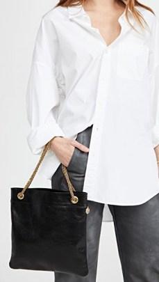 Clare V. Delphine Bag   black crinkled leather chain strap bags