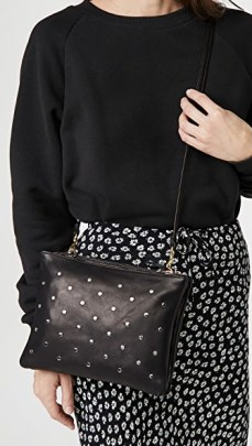 Clare V. Double Sac Bretelle Bag | black leather studded crossbody bags - flipped