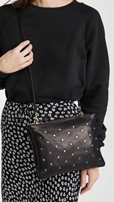 Clare V. Double Sac Bretelle Bag | black leather studded crossbody bags