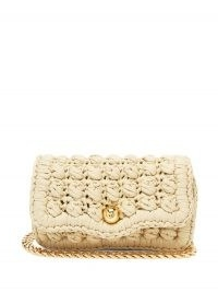 BOTTEGA VENETA Classic crochet-jersey shoulder bag ~ beige fabric flap bags ~ gold chain strap handbags