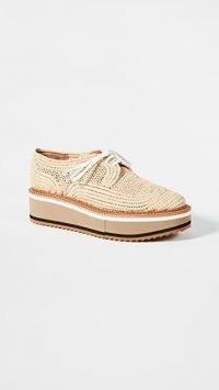 Clergerie Birdie Oxfords / woven raffia lace up platform shoes