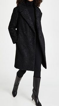 Club Monaco Faux Astrakhan Coat / black textured coats