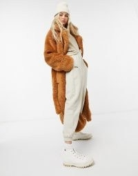 COLLUSION belted longline teddy overcoat in tobacco / fluffy brown winter coats