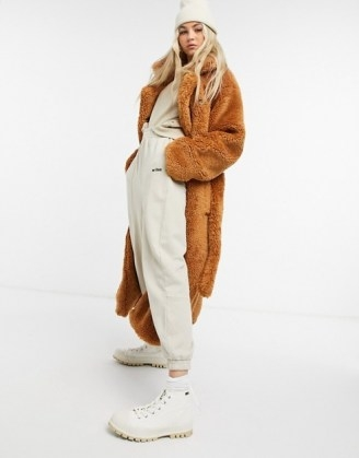 COLLUSION belted longline teddy overcoat in tobacco / fluffy brown winter coats - flipped