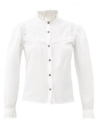 ETRO Corsica frill-neck bib-front cotton shirt ~ ruffled high collared shirts ~ romantic style clothing