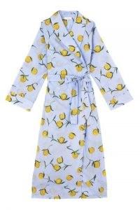 YOLKE Lemon Print Cotton Dressing Gown – gowns – nightwear – fruit printed robes