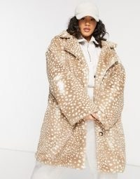 Daisy Street Plus double breasted coat in animal faux fur | plus size winter coats