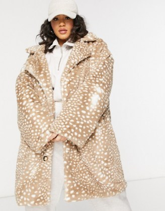 Daisy Street Plus double breasted coat in animal faux fur   plus size winter coats - flipped