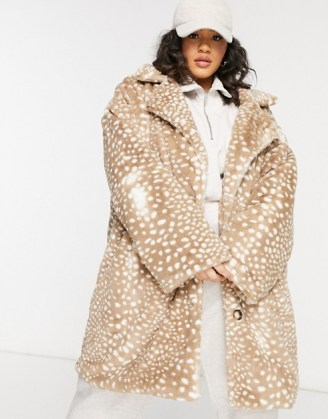 Daisy Street Plus double breasted coat in animal faux fur   plus size winter coats